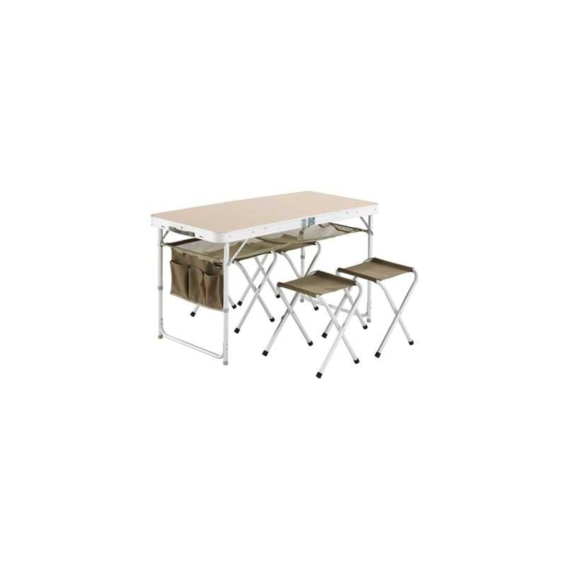 Table de camping table valise et 4 tabourets trigano for Table camping valise