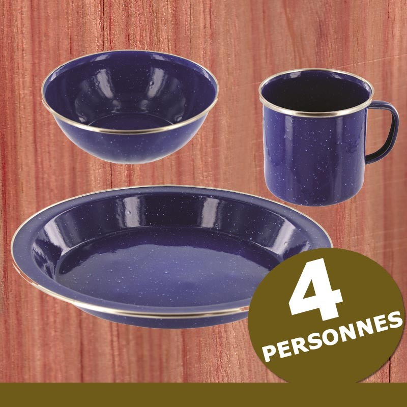Kit vaisselle camping emaillee 4 pers Bleu