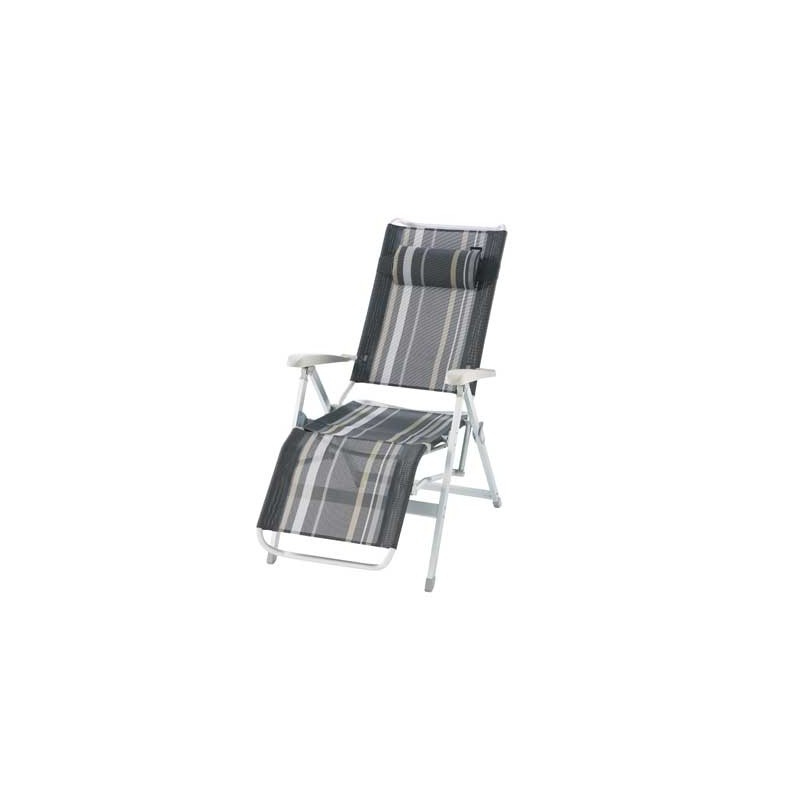 fauteuil de camping fauteuil relax alu raye gris trigano. Black Bedroom Furniture Sets. Home Design Ideas
