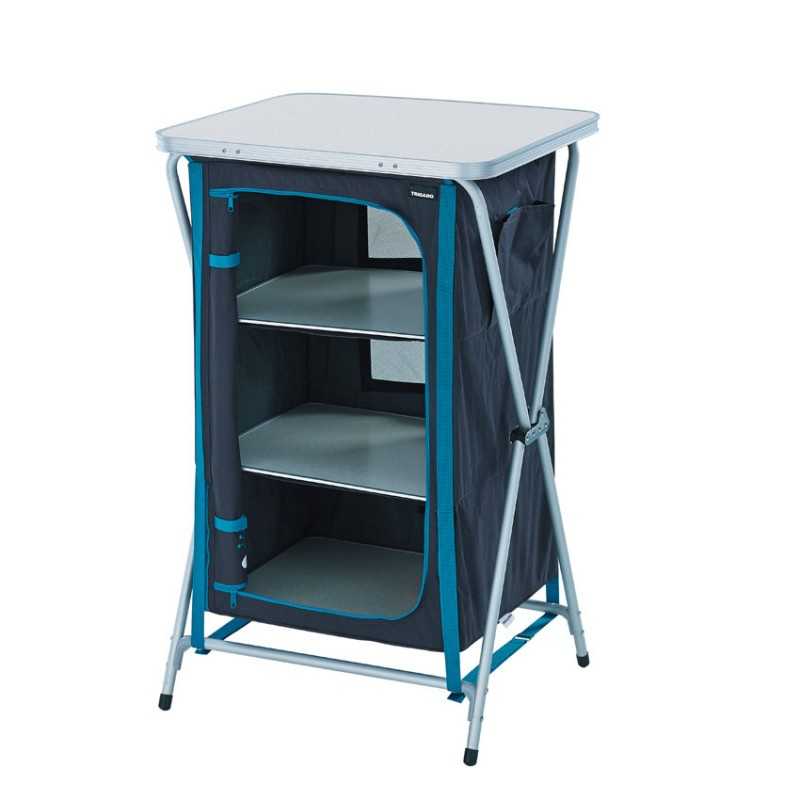 mobilier camping trigano meuble rangement camping pliant gris et turquoise trigano. Black Bedroom Furniture Sets. Home Design Ideas